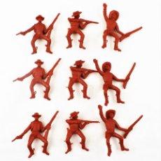 Figuras de Goma y PVC: COMANSI VAQUEROS . PIEZAS DE LOS 70. CONJUNTO DE 9 UNIDADES. Lote 260512765