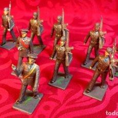 Figuras de Borracha e PVC: LOTE DE 10 SOLDADOS DESFILE AVIACION, GOMA DE REAMSA, GOMARSA, AÑOS 50. PINTURA ORIGINAL. Lote 260727435