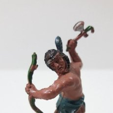 Figuras de Goma y PVC: GUERRERO INDIO . REALIZADO POR LAFREDO . SERIE PEQUEÑA ALTURA 4,5 CM . ORIGINAL AÑOS 50 EN GOMA. Lote 260830105