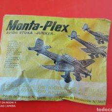 Figuras de Goma y PVC: MONTA-PLEX AVIÓN STUKA-JUNKER 2A GUERRA MUNDIAL MONTAPLEX 1967 ORIGINAL SIN ABRIR.. Lote 261339110