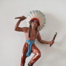 Figuras de Goma y PVC: FIGURA INDIO CON PENACHO GOMA JECSAN. Lote 261861285