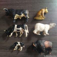 Figuras de Goma y PVC: LOTE 6 FIGURAS ANIMALES SCHLEICH TORO VACA TERNERO BÚFALO LEONA OSO POLAR. Lote 262107425