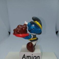 Figuras de Goma y PVC: PITUFO CON PAVO DE ACCION DE GRACIA -SCHLEICH -. Lote 262417365