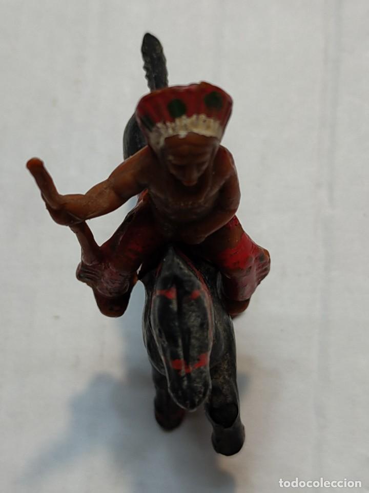 Figuras de Goma y PVC: Figura en Goma Lafredo serie Pequeña Jefe Indio a Caballo - Foto 3 - 262987175