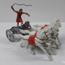 Figuras de Goma y PVC: CUADRIGA ROMANA DE BEN HUR . JUGUETE ANTIGUO REAMSA . ORIGINAL AÑOS 60. Lote 264156324