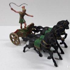 Figuras de Goma y PVC: CUADRIGA ROMANA DE MESSALA . JUGUETE ANTIGUO REAMSA . ORIGINAL AÑOS 60. Lote 264156988