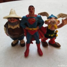 Figuras de Goma y PVC: LOTE DE 3 FIGURAS VINTAGE AÑOS 80, PVC ( EURA SPAIN ) SANCHO PANZA,SUPERMAN, ASTERIX. Lote 265651184
