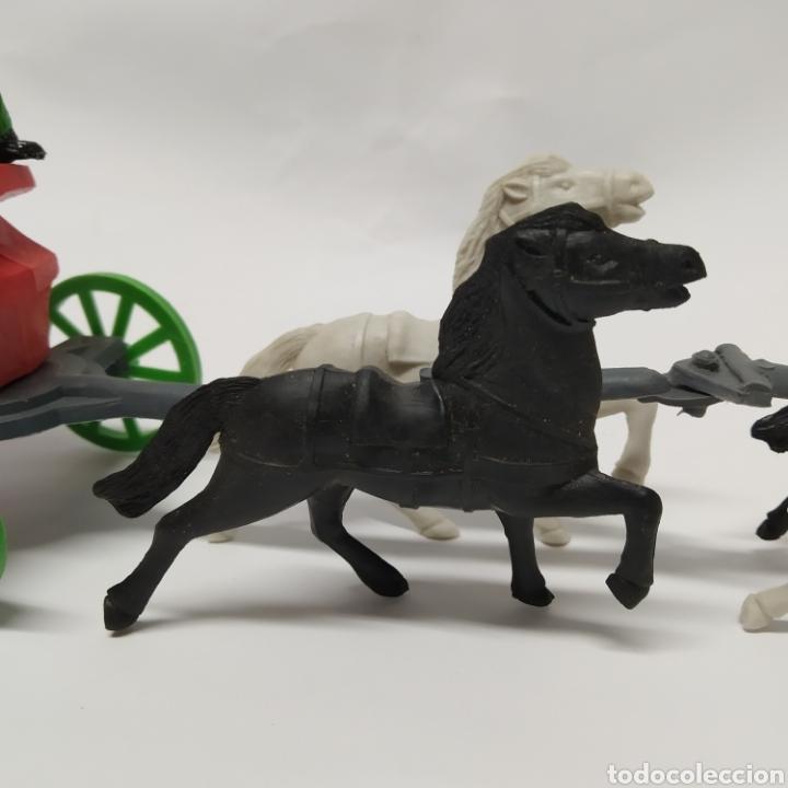 Figuras de Goma y PVC: Diligencia del oeste SOTORRES con caballos blancos y negros - Foto 6 - 265656609