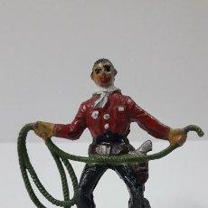 Figuras de Goma y PVC: VAQUERO CON LAZO Y CON BASE DESMONTABLE . REALIZADO POR ALCA - CAPELL . AÑOS 50. Lote 265750694