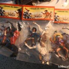 Figuras de Goma y PVC: 3 BOLSAS FIGURAS DEL OESTE TAMAÑO GRANDE INDIOS Y VAQUEROS TIPO COMANSI. Lote 266425038