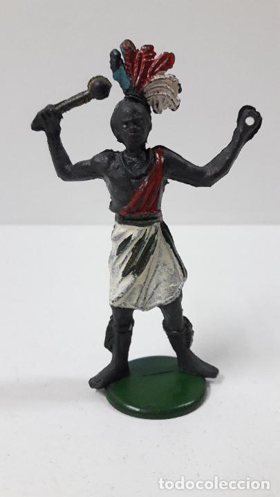 GUERRERO AFRICANO . REALIZADO POR GAMA . SERIE GRANDE . AÑOS 50 EN GOMA (Juguetes - Figuras de Goma y Pvc - Gama)