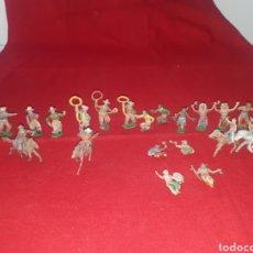 Figuras de Goma y PVC: LOTE 22 FIGURAS INDIOS Y VAQUEROS AÑOS 50 REAMSA PECH LAFREDO. Lote 268844579