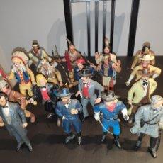 Figuras de Goma y PVC: 16 FIGURAS COMANSI SERIE A PIE COMPLETA WILD WEST INDIOS SOLDADOS VAQUEROS 18-10 CM - MUCHAS FOTOS. Lote 268978829
