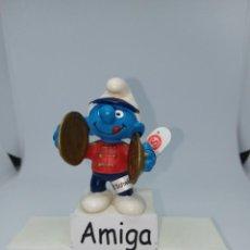 Figuras de Goma y PVC: PITUFO CON PLATILLOS - BANDA DE MUSICOS - SCHLEICH - PEYO. Lote 269446978