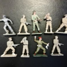 Figuras de Goma y PVC: 9 FIGURAS STARLUX COMANDO Y SOLDADO BOINA ROJA O PARACAIDISTA MADE IN FRANCE ORIGINAL AÑOS 70. PTOY. Lote 118458967