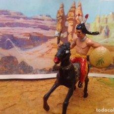 Figuras de Goma y PVC: INDIO Y CABALLO DE COMANSI. Lote 271887908