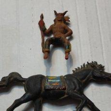 Figuras de Goma y PVC: FIGURA GOMA REAMSA JEFE INDIO TORO SENTADO A CABALLO BUEN ESTADO MUY DIFÍCIL. Lote 273754888
