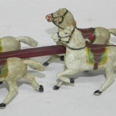 Figuras de Goma y PVC: CABALLOS PARA CUADRIGA O CARRETA, MIDE 21 CMS DE LARGO.. Lote 274227758