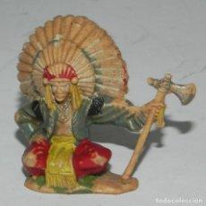 Figuras de Goma y PVC: REAMSA : GUERRERO JEFE INDIO REFERENCIA 94 DEL CATALOGO AÑOS 60 PLASTICO ORIGINAL. Lote 274272328