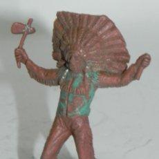 Figuras de Goma y PVC: GUERRERO INDIO. POSIBLEMENTE PECH . AÑOS 50 EN GOMA. Lote 274273993