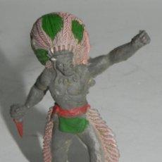 Figuras de Goma y PVC: FIGURA DE JEFE INDIO DE GOMA, MIDE 5,5 CMS.. Lote 274275003