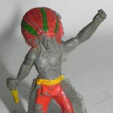 Figuras de Goma y PVC: FIGURA DE JEFE INDIO DE GOMA, MIDE 5,5 CMS.. Lote 274275048