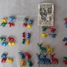 Figuras de Goma y PVC: LOTE DE 86 FIGURAS DE ANIMALES QUE VENÍAN CON LOS CROMOS DE MUNDO ANIMAL DE LAIDA AÑO 1967. Lote 274575643