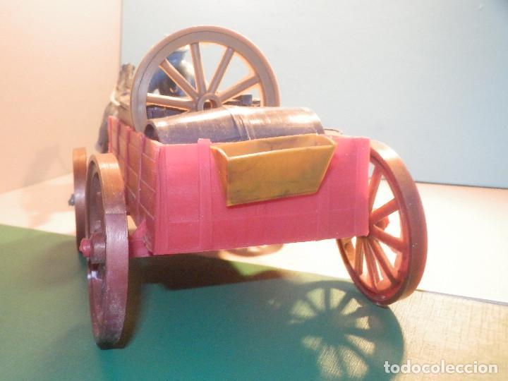 Figuras de Goma y PVC: Bonito Carro, Carromato ó carreta en plástico - Oeste - 2 Caballos - C/ accesorios muy completa - Foto 12 - 275479623