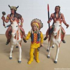 Figuras de Goma y PVC: LOTE DE COMANSI 3 FIGURAS Y 2 CABALLOS GRANDES INDIOS WILD WEST. Lote 276246018
