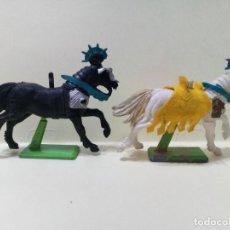 """Figuras de Goma y PVC: LOTE """" B """" DE CABALLOS MEDIEVALES .BRITAINS DEETAIL 1971. Lote 276570818"""