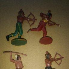 Figuras de Goma y PVC: GAMA FIGURA EN GOMA LOTE 4 INDIOS OESTE AÑOS 50- PINTURA ORIGINAL. Lote 276929078