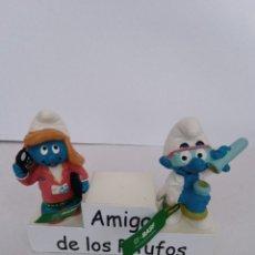 Figuras de Goma y PVC: PITUFO DR. DINCH Y SECRETARIA - BASF - BANDA VERDE - SCHLEICH - PEYO. Lote 277156113