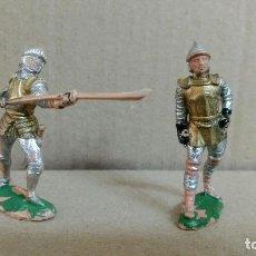 Figuras de Goma y PVC: 2 SOLDADOS MEDIEVAL TORNEO REAL , REAMSA ,ORIGINAL AÑOS 50-60-PINTURA ORIGINAL. Lote 277515023