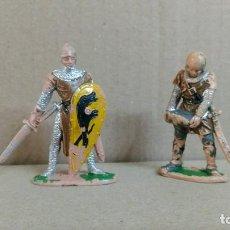 Figuras de Goma y PVC: 2 SOLDADOS MEDIEVAL REY ARTURO , REAMSA ,ORIGINAL AÑOS 50-60-PINTURA ORIGINAL. Lote 277516993
