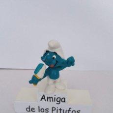 Figuras de Goma y PVC: PITUFO CON HELADO CELESTE Y BLANCO - RARO - SCHLEICH. Lote 278192408