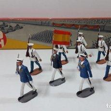 Figuras de Goma y PVC: CAJA ORIGINAL CON SUS FIGURAS - DESFILE DE LA MARINA . REALIZADA POR PECH . ORIGINAL AÑOS 60. Lote 278837488