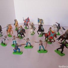 Figuras de Goma y PVC: 17 SOLDADOS , CONFEDERADOS , SUDISTAS, CABALLERÍA. Lote 278935688
