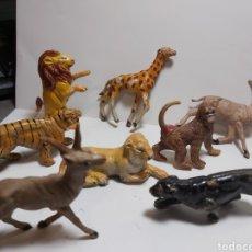 Figuras de Goma y PVC: 8 ANIMALES GOMA JECSAN, PECH LEON TIGRE MONO PANTERA CIERVO AÑOS 50-60. Lote 279477913