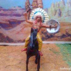 Figuras de Goma y PVC: INDIO Y CABALLO DE JECSAN. Lote 280206083