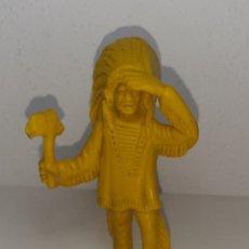 Figuras de Goma y PVC: PIPERO : ANTIGUO Y ENORME JEFE INDIO DE PLASTICO DE GRAN TAMAÑO 12 CM DE KIOSCO AÑOS 70. Lote 286243373