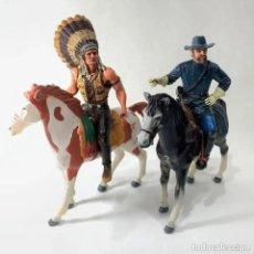 Figuras de Goma y PVC: COMANSI HÉROES OF THE WEST - JEFE INDIO + NATHAN MACKENZIE LOS DOS EN SU GRAN CABALLO. Lote 287581613