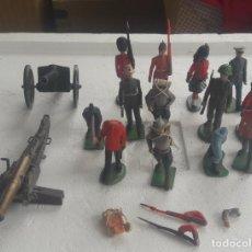 Figuras de Goma y PVC: LOTE FIGURAS SOLDADOS Y CAÑONES BRITAINS MADE IN ENGLAND Y MADE IN HONG KONG. Lote 287597793
