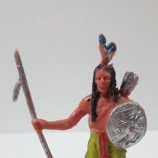 Figuras de Goma y PVC: GUERRERO INDIO . REALIZADO POR JECSAN . ORIGINAL AÑOS 60 / 70. Lote 287729153