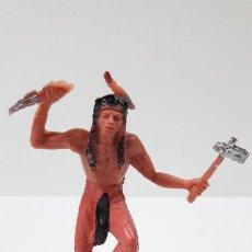 Figuras de Goma y PVC: GUERRERO INDIO . REALIZADO POR JECSAN . ORIGINAL AÑOS 60 / 70. Lote 287729433