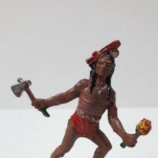 Figuras de Goma y PVC: GUERRERO INDIO . REALIZADO POR LAFREDO . ORIGINAL AÑOS 50 EN GOMA. Lote 287735708