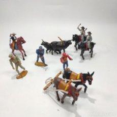 Figuras de Goma y PVC: LOTE DE 13 FIGURAS DE PLÁSTICO. CORRIDA CON REJONEADORES. JECSAN. MULILLAS, TOROS, CABALLOS, ETC... Lote 287888123