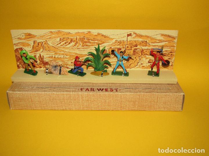 Figuras de Goma y PVC: Antigua Caja Set Completa y a Estrenar FAR WEST de STARLUX - Año 1960-70s. - Foto 4 - 287906833