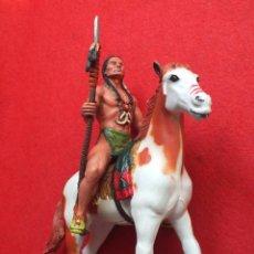Figuras de Goma y PVC: INDIO A CABALLO COMANSI FIGURA AÑOS 90 MADE IN SPAIN. Lote 288074453