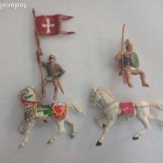 Figuras de Goma y PVC: REAMSA PLÁSTICOS MEDIEVAL Y ROMANO CON CABALLO AÑOS 60. Lote 288186403
