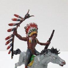 Figuras de Goma y PVC: JEFE INDIO A CABALLO . REALIZADO POR PECH . ORIGINAL AÑOS 50 EN GOMA. Lote 288533233